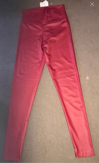 Red faux leather leggings new