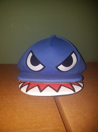Gorra azul boca abierta dientes original para niño