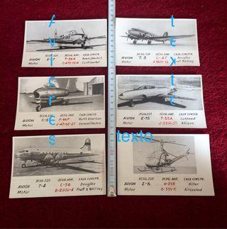 Tarjetas tipo postal de aviones. Años 50/60