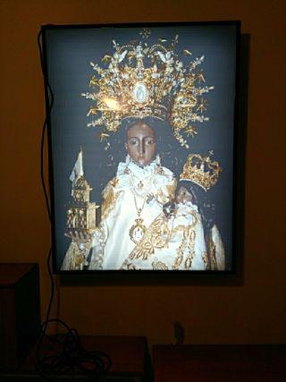 Cartel luminoso de la virgen del castillo de Chiva