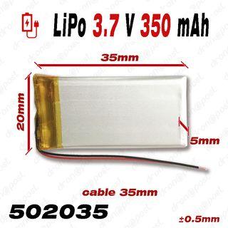 BATERÍA 502035 LiPo 3.7V 350mAh para teléfono