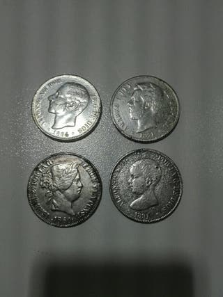 4 Monedas pesetas y reales réplicas