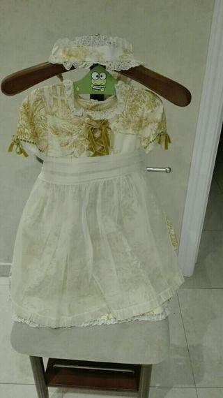 vestido para arras con cofia, la oca loca talla 3