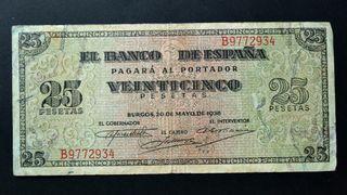 Billete . España . 25 pesetas 1938