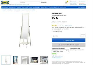 Miroir sur pied IKEA