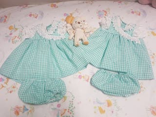 vestidos artesanales talla 6 y 9 meses