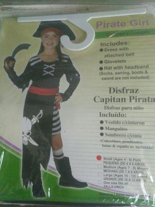 Disfraz capitan pirata niña