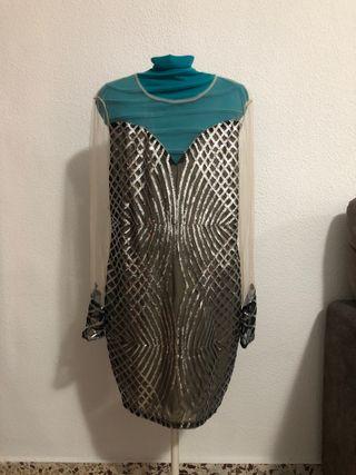 Vestido Corto De Noche Talla XL Transparente