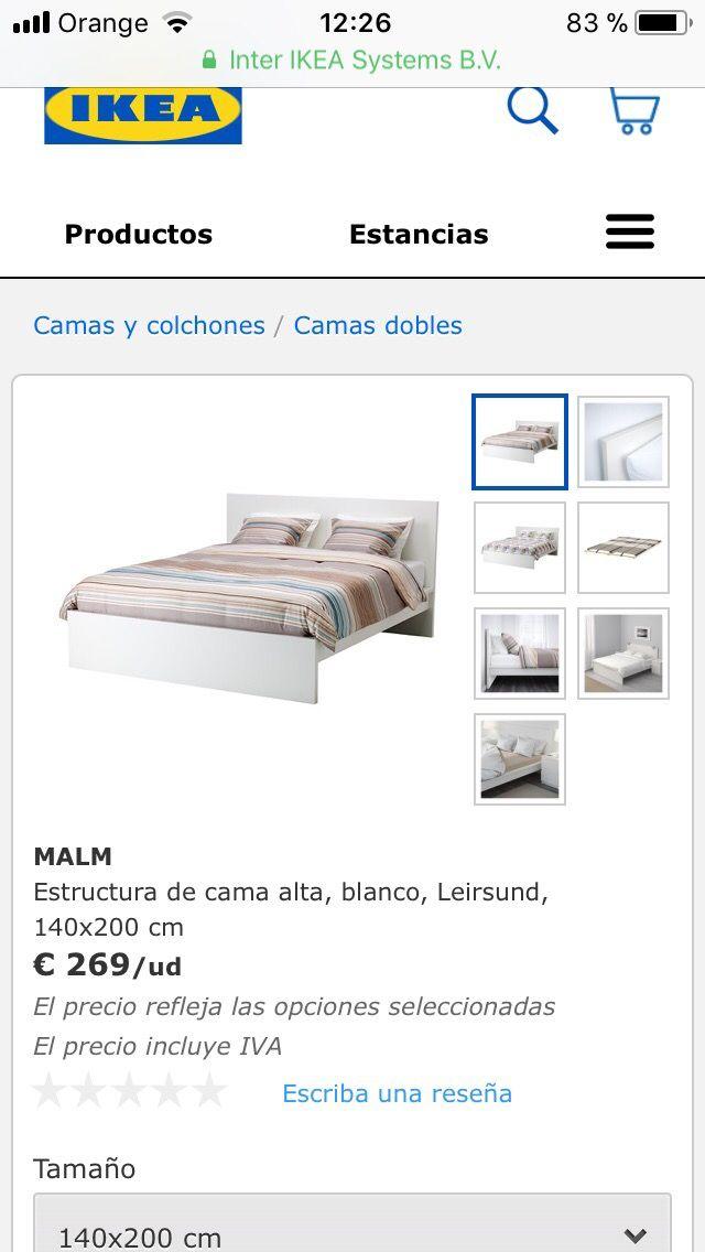 Estructura cama Malm de Ikea de segunda mano por 90 € en Albolote ...