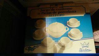 juego consome y sopera porcelana bidasoa