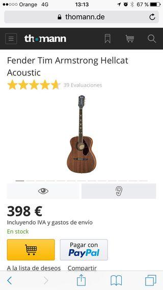 Guitarra acústica zurdo