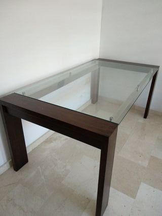 Mesa comedor madera y cristal de segunda mano por 300 € en Dos ...