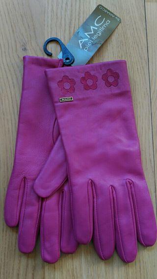 Guantes de piel rosa