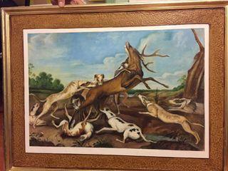 Cuadro: Ciervo acosado por jauría perros