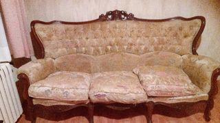 sofa luis 16 madera nogal labrada mas dos sillones