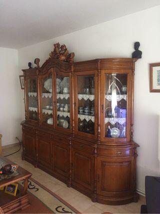 Mueble de salon rustico roble y mesa 8 sillas