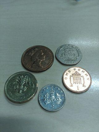 Lote 1, 2, 5, 20 pence y 1pound libra Gran Bretaña