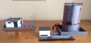 H0/TT modelismo ferroviario estación petrolera con tanque