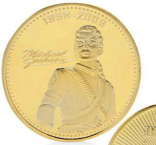 moneda baño de oro michael jackson rey del pop