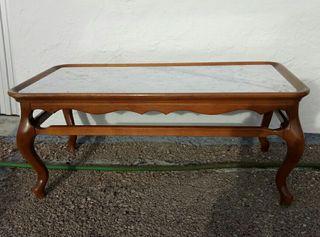 mesa de madera y marmol vintage