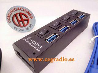 Divisor HUB 4 Puertos USB 3.0 de Alta Velocidad