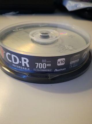 Paquete de 10 CD regrabables 700 Mb