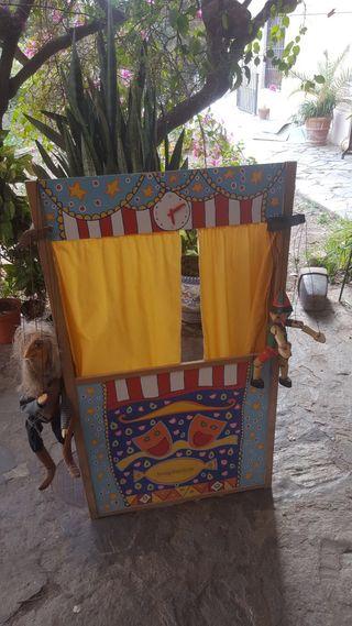 Teatro guiñol madera artesanal