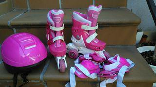 Patines infantiles con casco y rodilleras