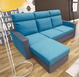Nuevo sof cheslon cama azul respaldo alto de segunda for Sofa respaldo alto