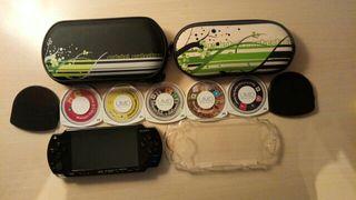 Consola psp +juegos +funda +protector de pantalla