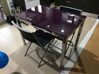 Mesa de cocina extensible Cristal