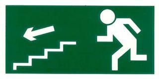 Señal de evacuación de escaleras abajo y arriba