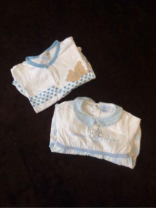 Lote 2 pijamas bebe 0-1 mes