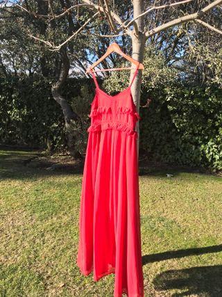 Vestido largo con etiqueta rojo t. S