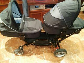 Carrito gemelar Asalvo Zoom capazos + sillas