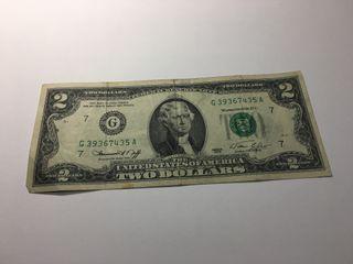 Billete 2 Dólares USA 1976