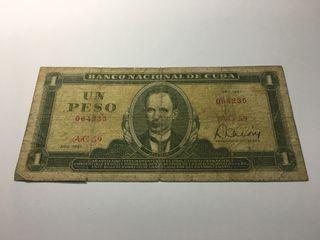 Billete de 1 Peso Cuba Año 1981