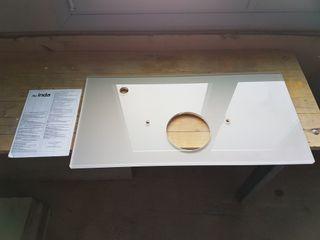 base de cristal para lavamanos