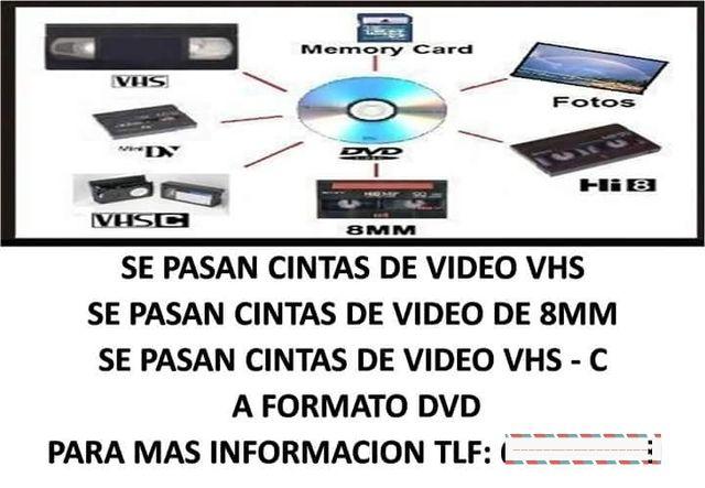 Se pasan cintas VHS y VHS-C y cintas de 8 mm .