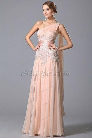 Vestido largo en rosa palo