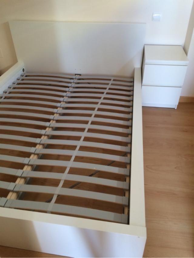 Estructura de cama MALM + somier de láminas de segunda mano por 110 ...