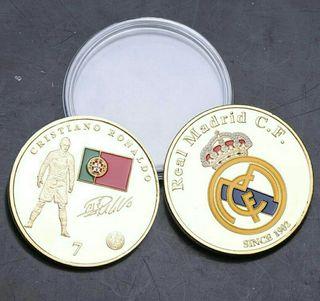 Monedas conmemorativas Real madrid y Cristiano R.