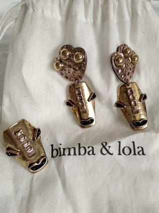 Conjunto pendientes y anillo Bimba y Lola
