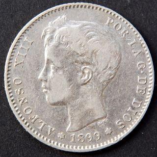 Moneda . España . 1 peseta 1899 SG V . Plata