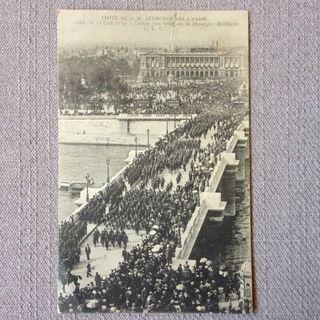 Antigua tarjeta postal Alfonso XIII en Paris