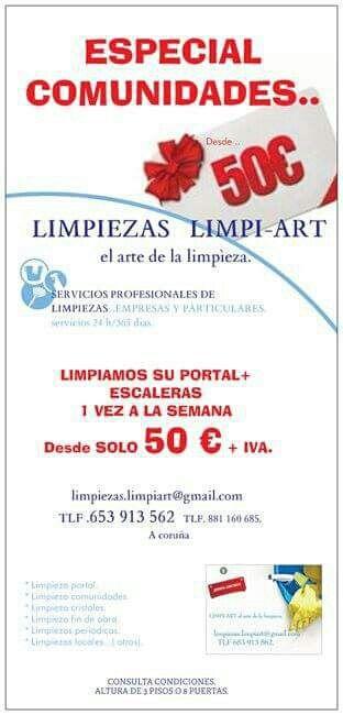 LIMPIEZA DE COMUNIDADES DESDE 50 €.mensuales.