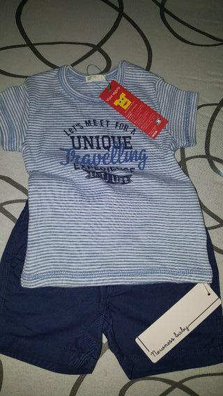 Camiseta, pantalón y body verano niño 6 a 9 meses