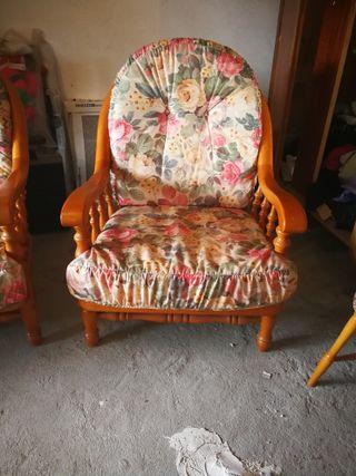 Conjunto tres sofás madera