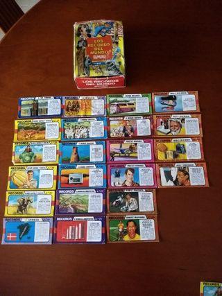 Caja y 23 cromos records del mundo Bimbo