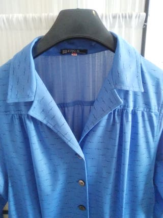 Vestido camisero azul electrico
